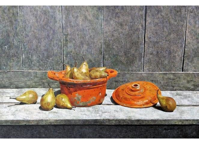 'Old pearpot with pears'