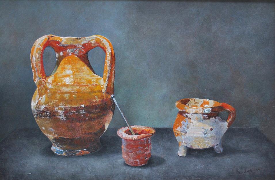 'Three antique pots'